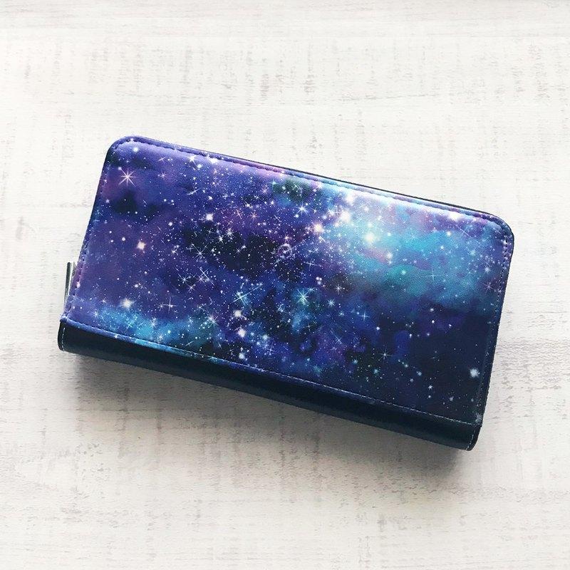 長錢包GALAXY /錢包錢包空間宇宙模式滿天星斗的夜空星系銀河系
