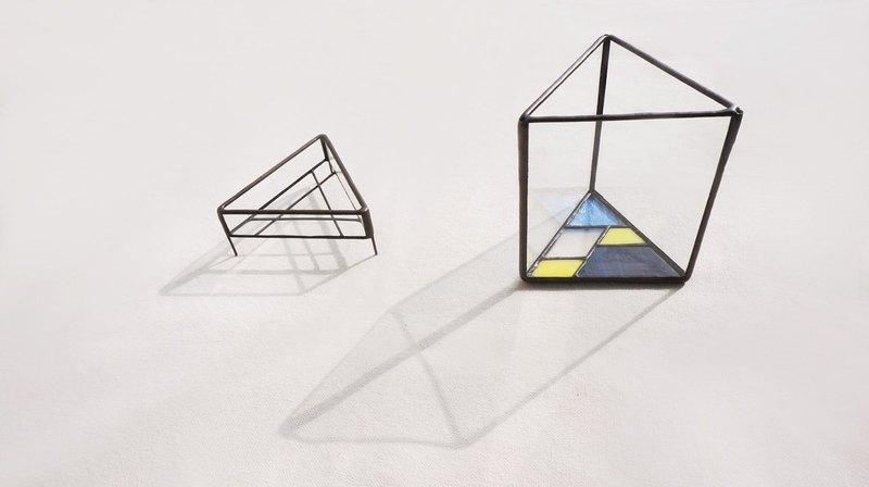 植展台 -彩色三角B款 水耕 多肉 植栽 盆器 玻璃鑲嵌