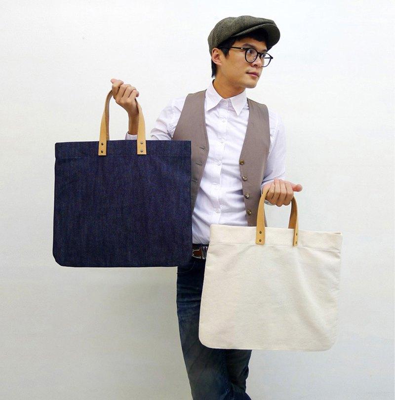 DENIM-手做皮革純棉帆布手提/托特/筆電包