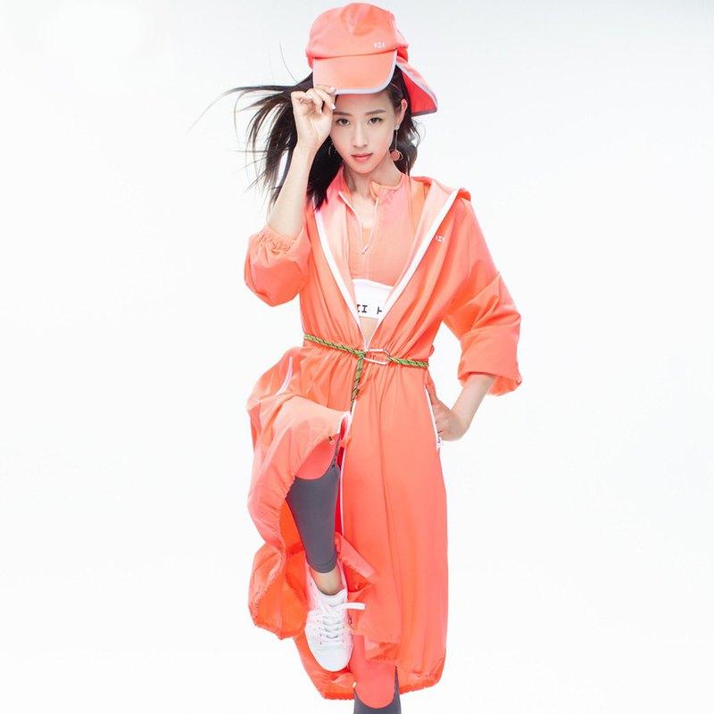 【HOII后益】防曬長版連帽造型拉鍊外套-紅