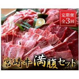 《3か月定期便》宮崎牛満腹セット(合計2.4kg)都農町加工品