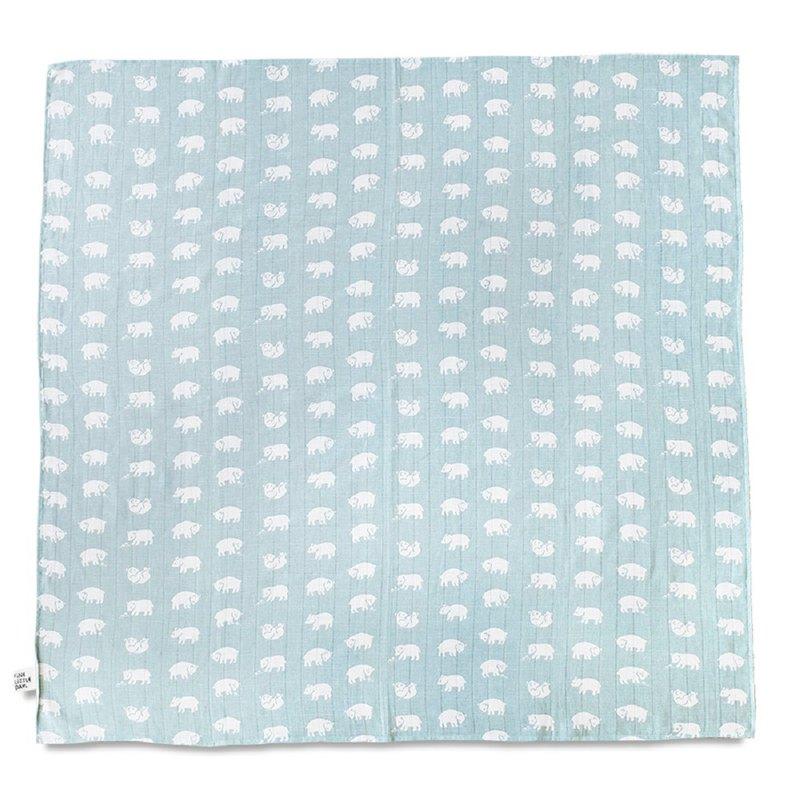 有機棉紗布包巾(森林小熊 – 淺藍綠) – BJÖRN MUSLIN BLANKET