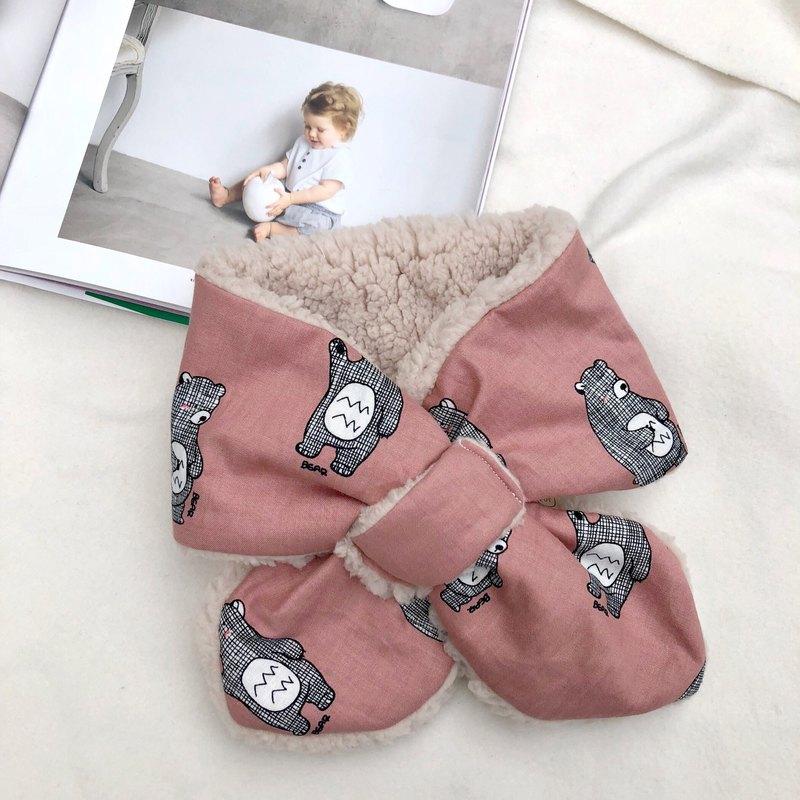 磚紅格紋熊 韓國有機棉 手工寶寶保暖圍巾脖圍 彌月禮盒
