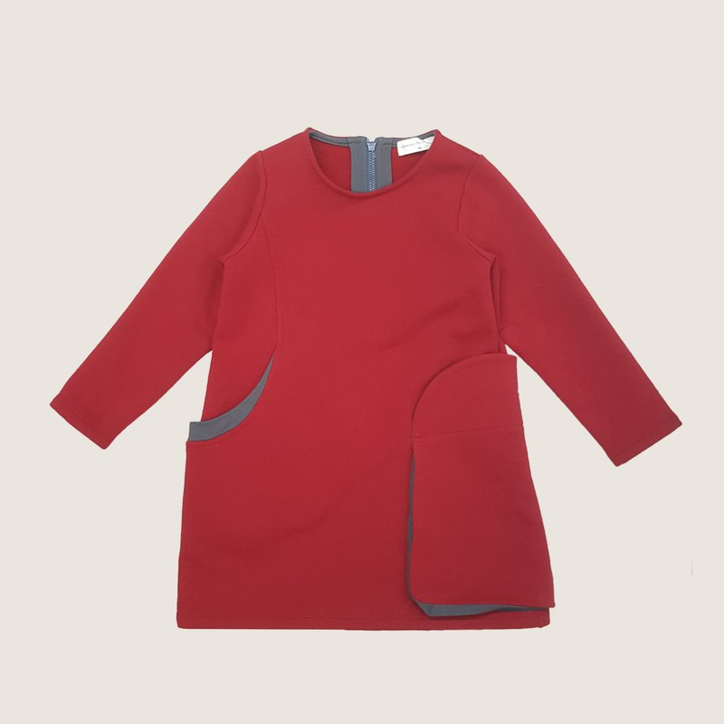 Comoyo-立體袋全棉刷毛洋裝