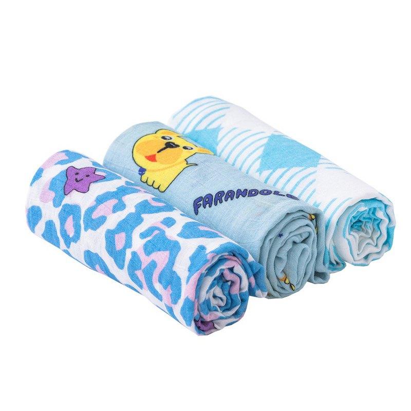 Farandole 竹纖維包巾-三件組-莫蘭迪幸運豹+藍底法鬥+藍底格紋