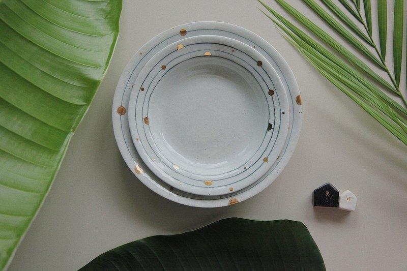 軌跡手工手繪燒 真金陶瓷餐盤湯盤菜盤器皿原創設計設計師手繪制