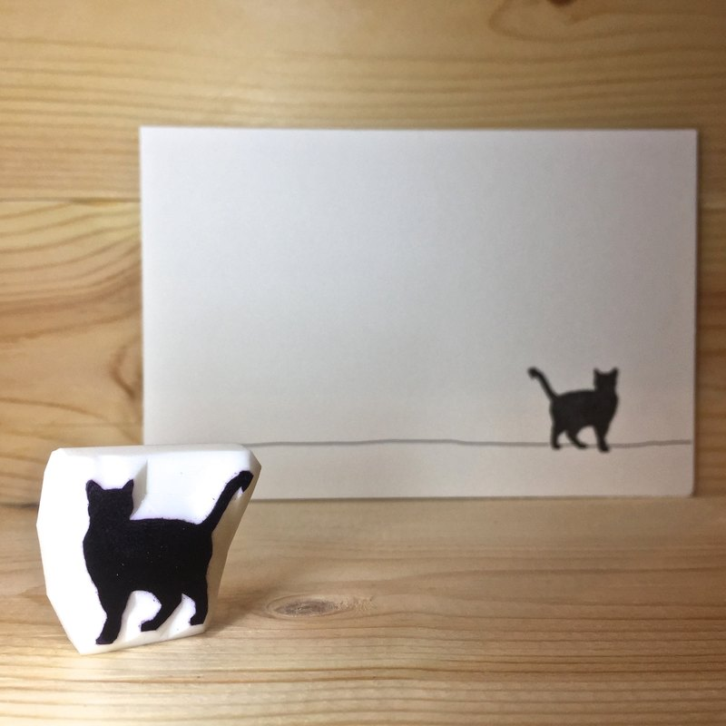 貓剪影(A款)印章連明信片