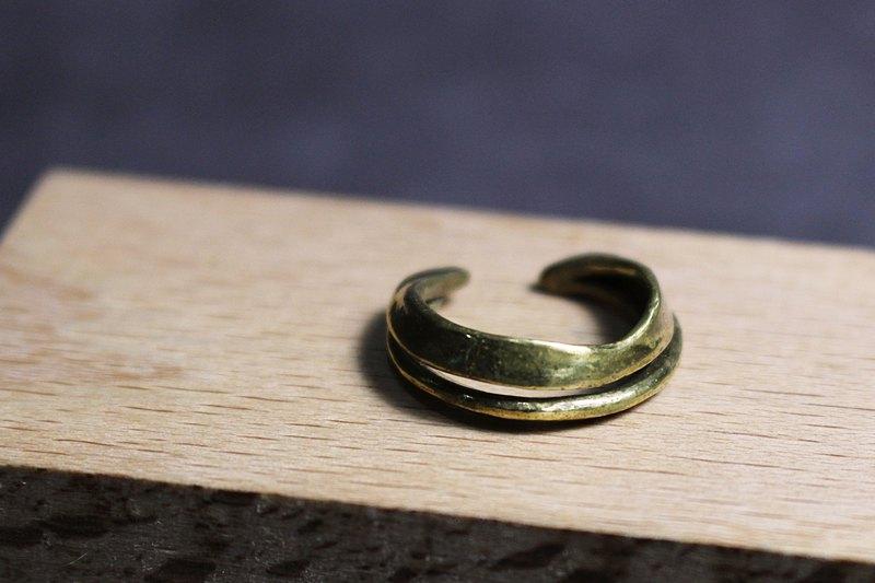 線條系列-雙線設計黃銅戒