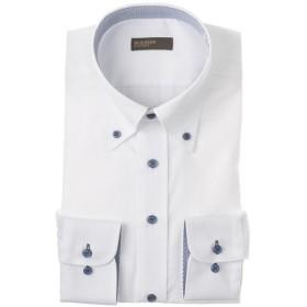 BUSINESS EXPERT メンズ 【在庫限り】ホワイトドビーボタンダウンシャツ(すっきりシルエット)