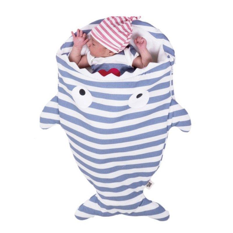 BabyBites鯊魚咬一口嬰幼兒多功能睡袋-水手藍條紋