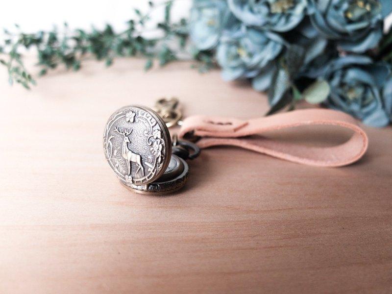 客製化鑰匙圈 小麋鹿懷錶