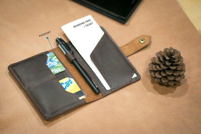 個性化線程皮革耐用複古旅行錢包護照持有人案例