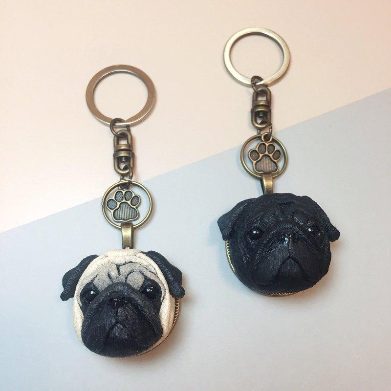 巴哥犬 鑰匙圈 狗頭背面免費印字/提供中文/英文/數字