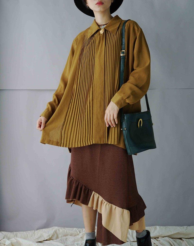 設計手作-深咖拿鐵不規則針織魚尾裙