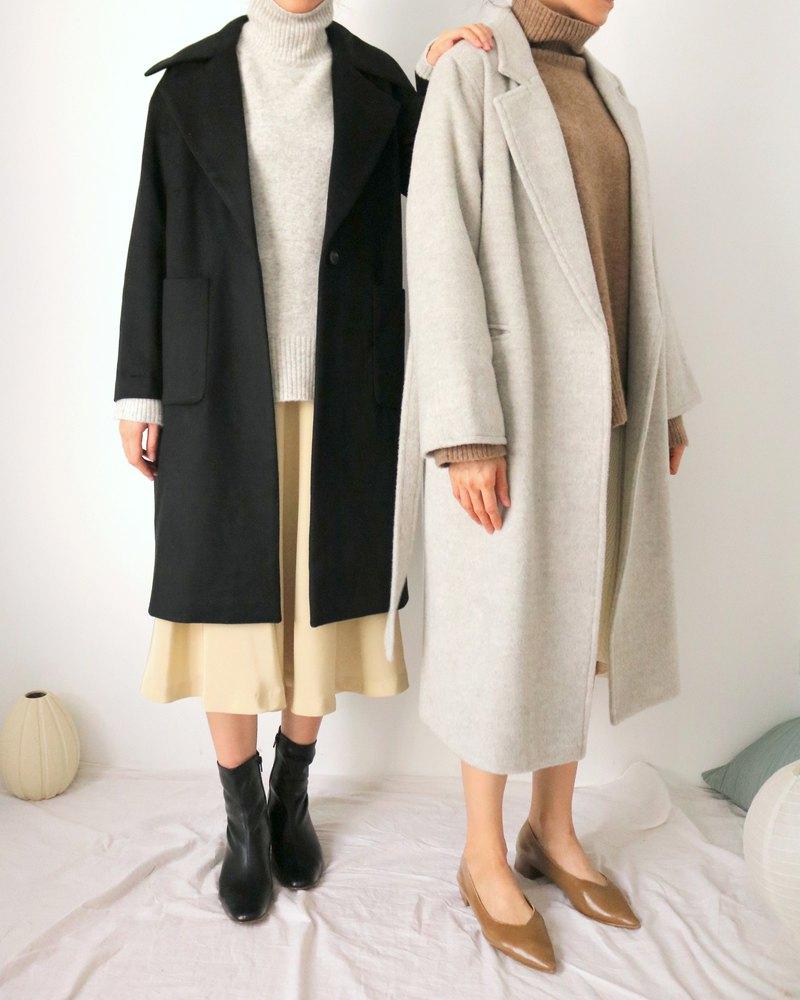 Taizo Coat 黑色經典翻領喀什米爾羊毛大衣(可訂做其他顏色)