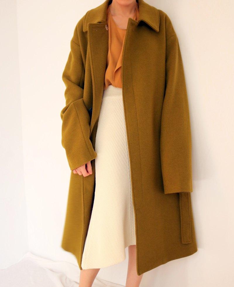 Seoul Coat 芥末棕綠中性風衣式羊毛大衣(可訂做其他顏色)