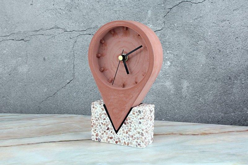 地標時鐘-水泥時鐘-文創禮品-手作創意-紅色款+玫紅抿石底座