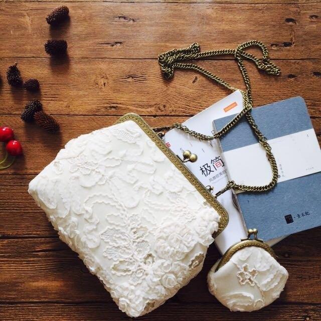 绣花蕾丝复古口金包斜挎包手拎包 生日禮物 设计 手工包