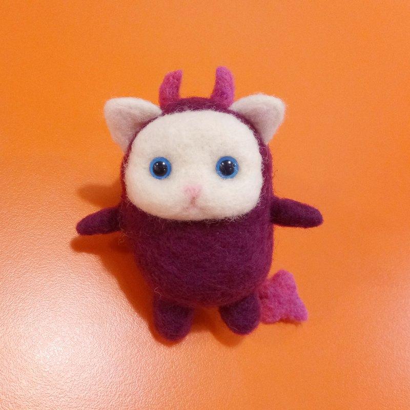 穿著惡魔裝的貓咪 萬聖節-羊毛氈 鑰匙圈、吊飾、擺飾