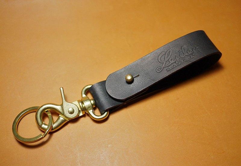 皮革鑰匙圈 昆布黑色