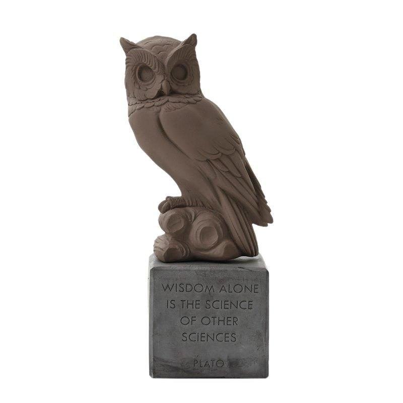 古希臘 貓頭鷹擺飾 Sophia Owl (深棕) - 手工陶製雕像