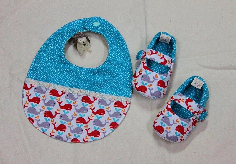 小鯨魚 鞋+兜  彌月禮.滿月禮