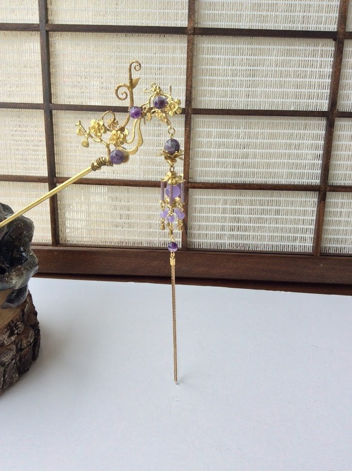 喵手作~髮簪/夜花(紫/黃銅色)