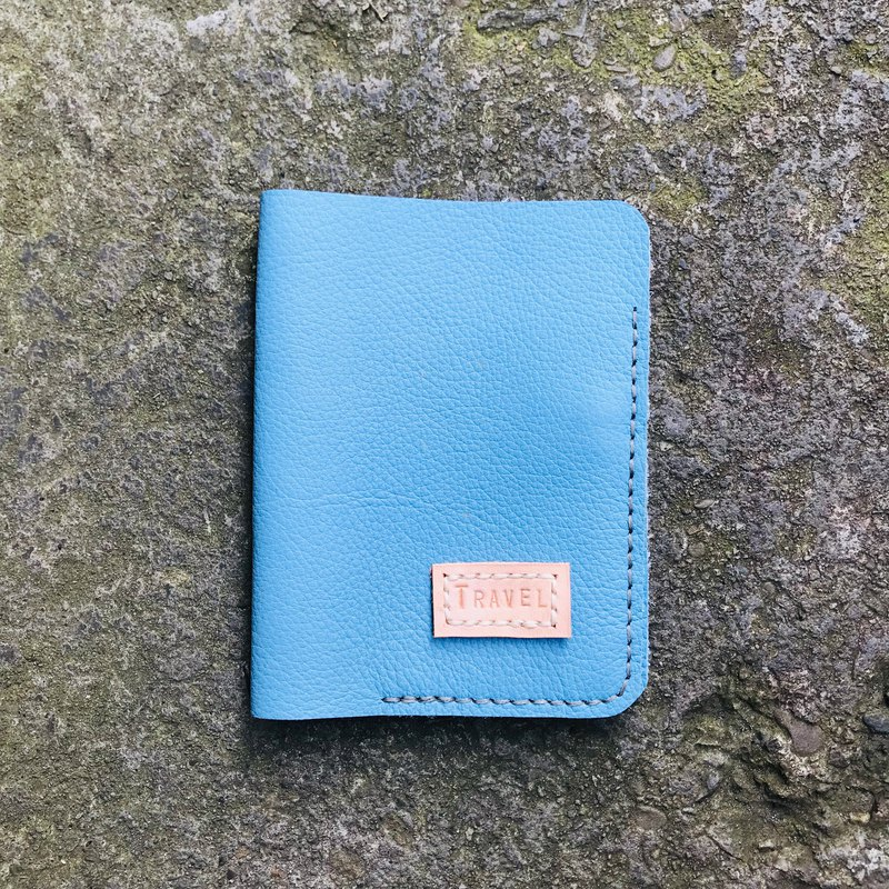 Handmade Leather Passport Blue christmas gift 嗅皮手作