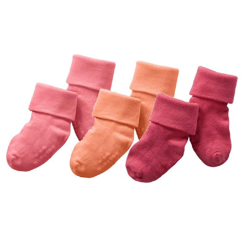 美國Babysoy-舒棉襪子(3入)_桃橘系列(647PI、147CA、147BL)