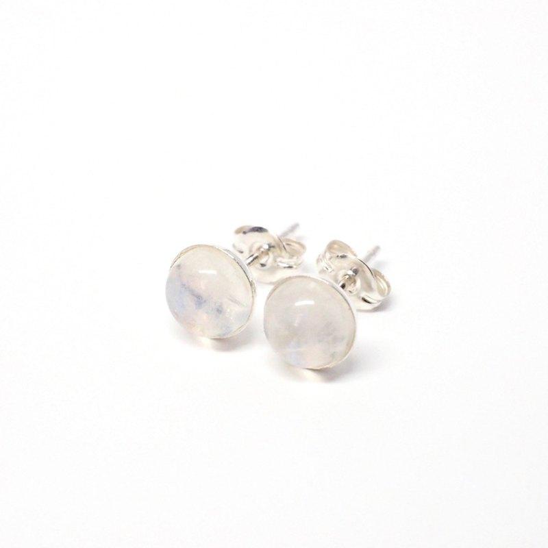 彩虹月光石寶石耳環,925純銀,6毫米圓形