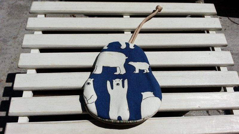 北極熊(暗藍)  梨型鑰匙包【K170626】