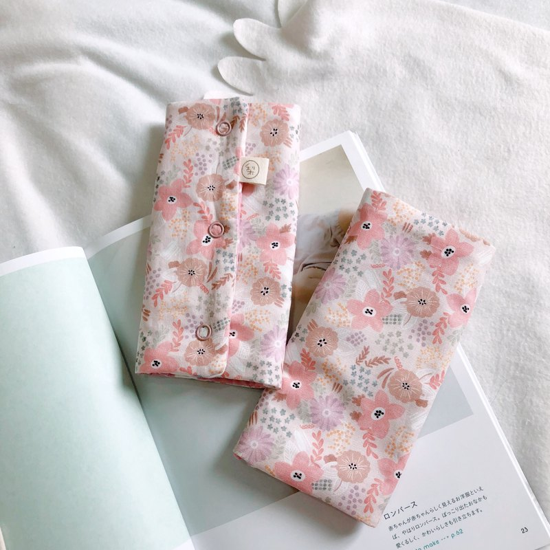 粉花錦簇 韓國製純棉布 六層紗手工背巾用口水巾