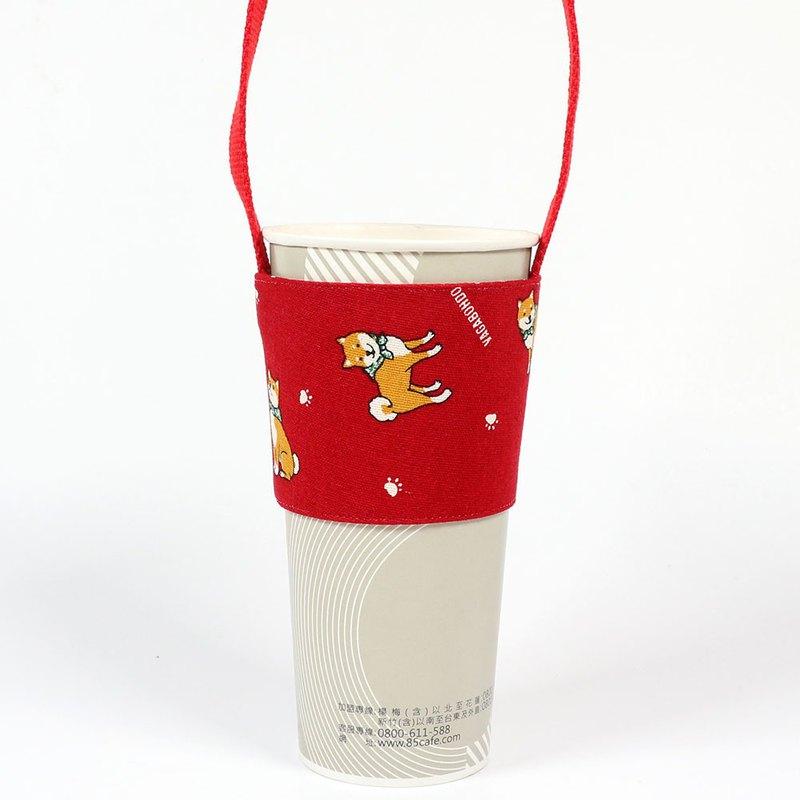 飲料杯套 環保杯套 提袋- 小柴犬 (紅)