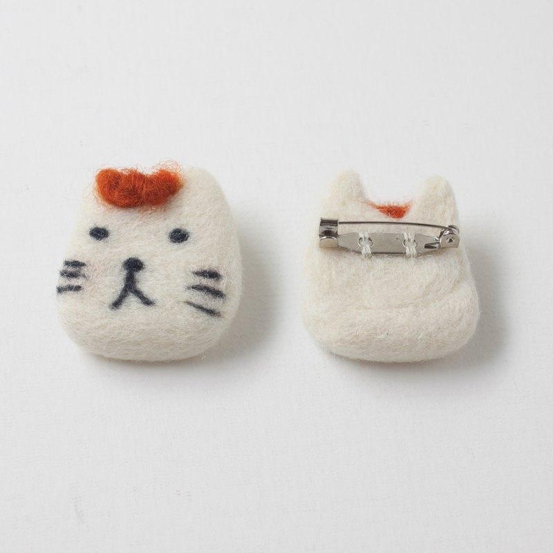 眼鏡貓先生 羊毛氈 別針 - 紅髮  原創設計