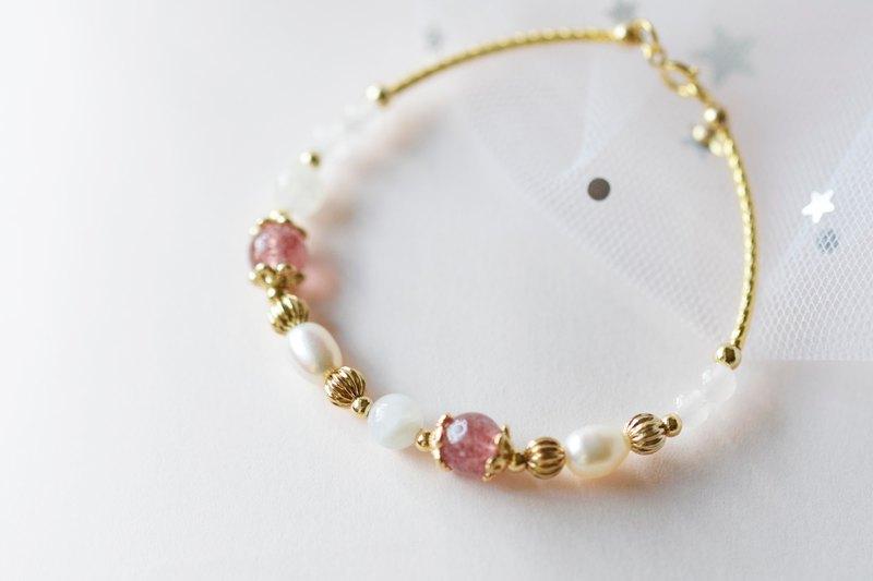 初心少女。草莓晶 月亮石 馬粉 珍珠 14K包金 天然石 手鍊