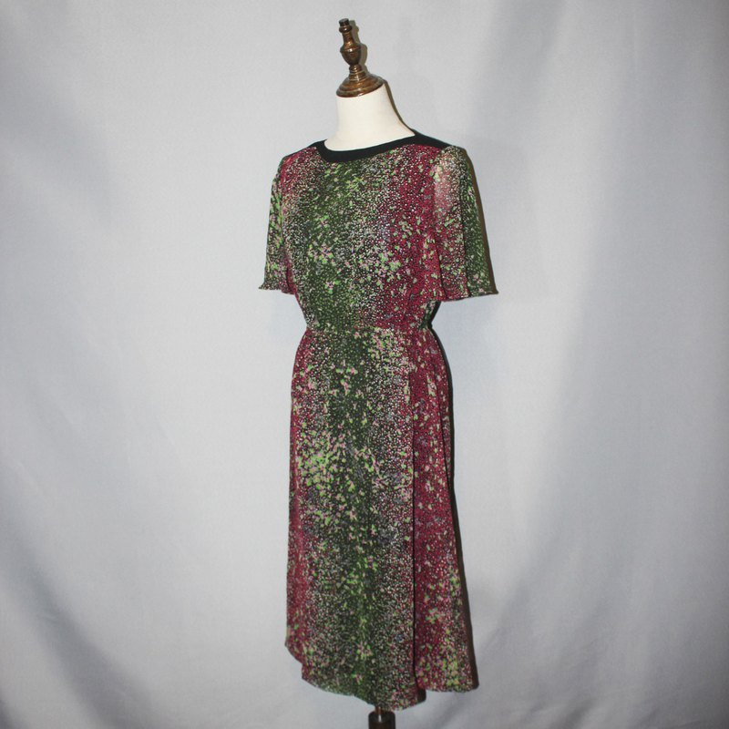 (Vintage日本古著洋裝)日本製綠粉紅色點點小花洋裝F3591