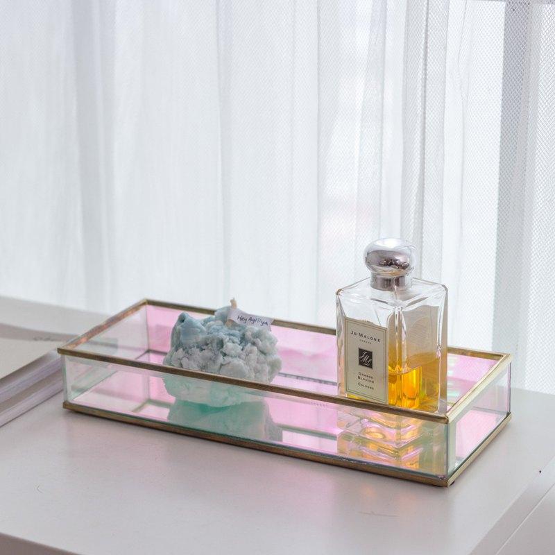 【微瑕疵出清】歐若拉 極光玻璃托盤 長方款 福利品