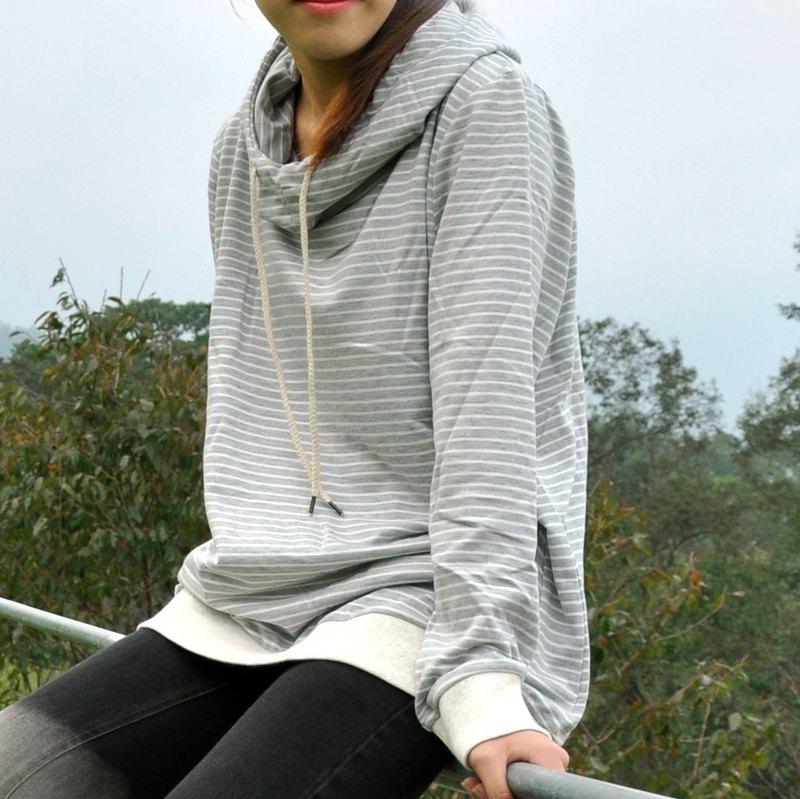 高領連帽上衣 細條紋衛衣帽TEE-灰條紋/藍條紋/頸鹿綠/頸鹿藍-4色