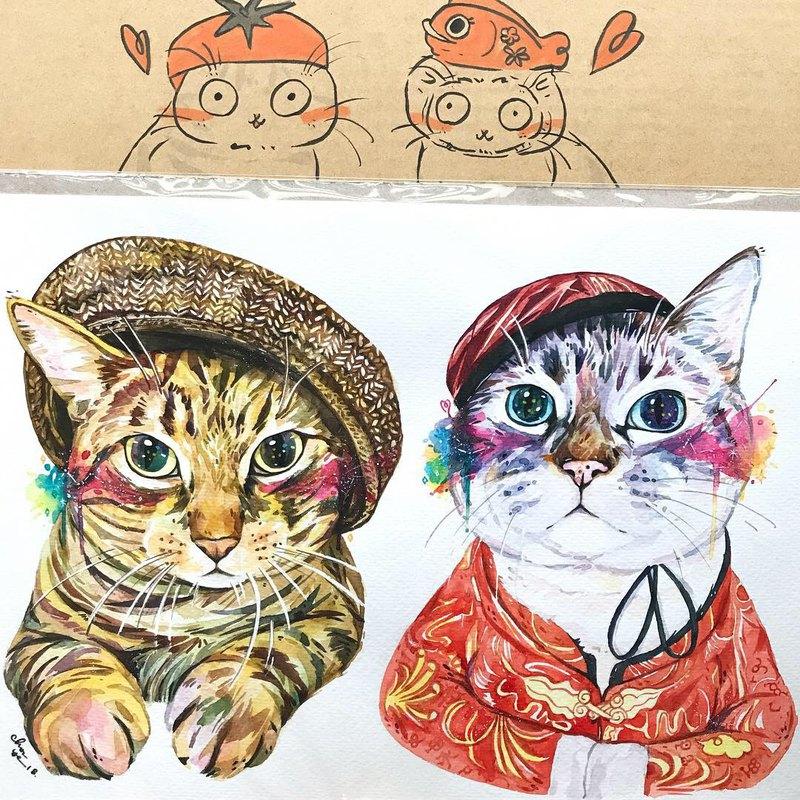 "Pet Portrait 寵物肖像畫 / 21x30cm (8x12"") / 兩隻一張 / 水彩"