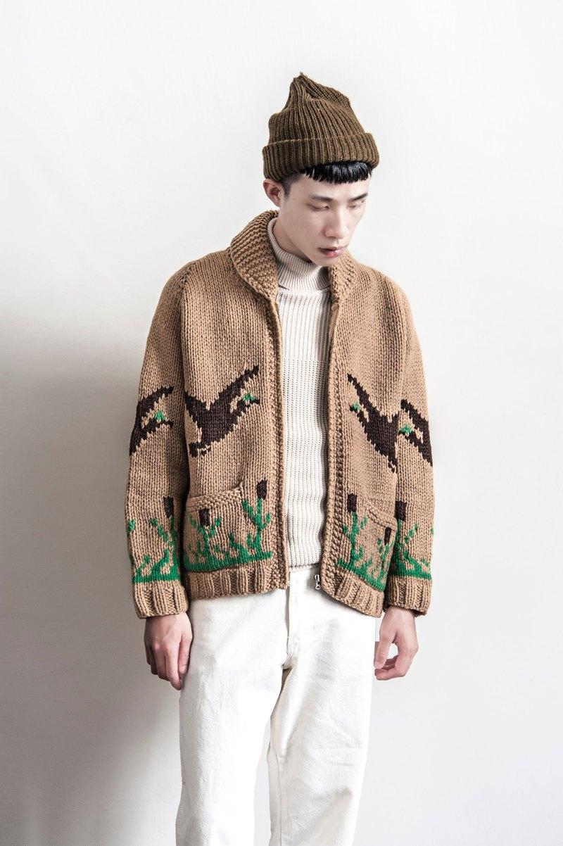 Vintage Cowichan HAND MADE 60年代!野鳥騰設計手織厚實加拿大考津毛衣外套