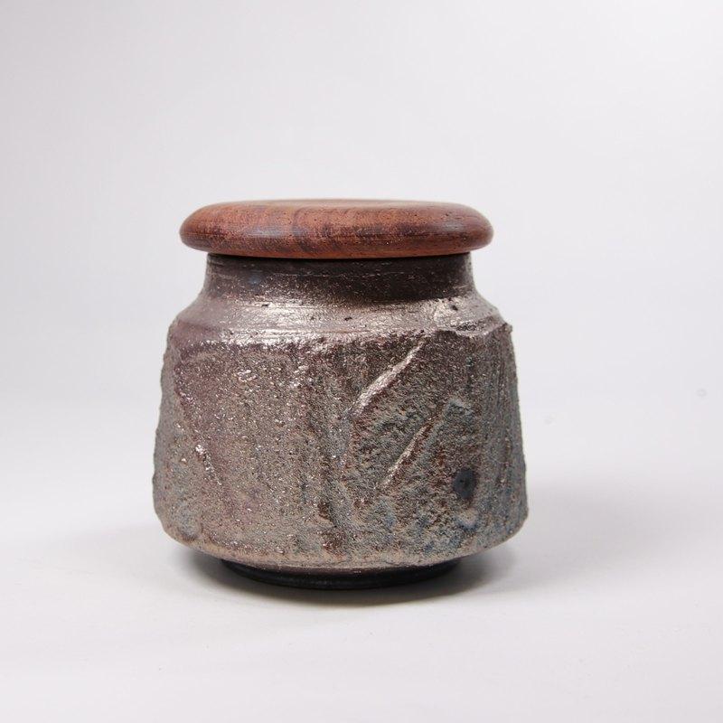 明芽窯 l 柴燒紫金石紋茶罐收納罐(含木蓋)