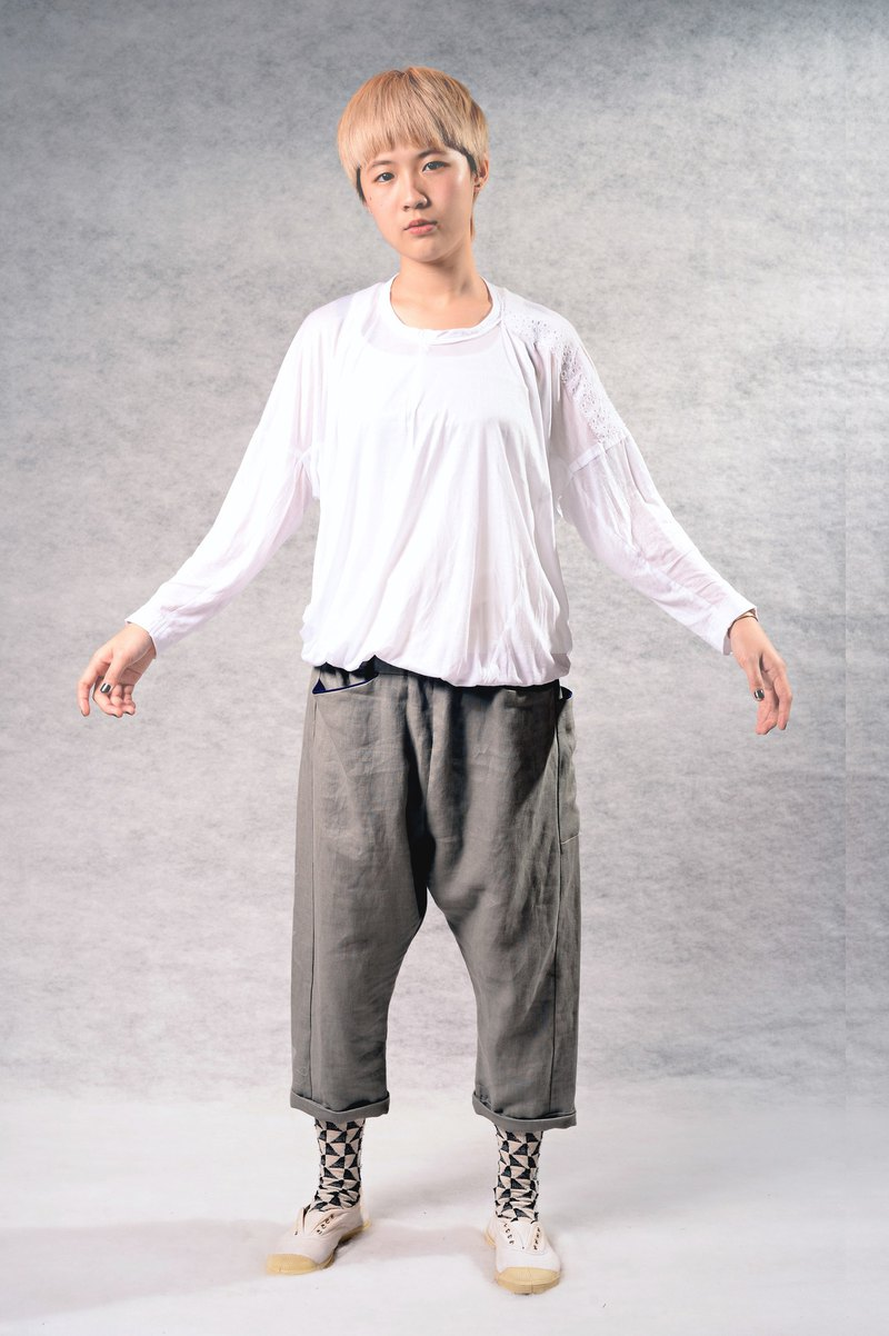 簡約百搭多口袋小垮褲(灰/磚紅2色)