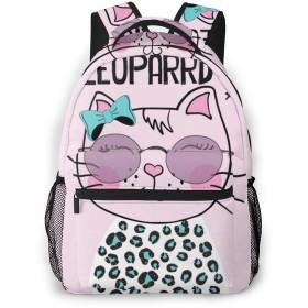 バックパック リュックサック メガネをかけている猫 ピンク ビジネス カジュアル リュック 軽量 超大容量 多機能 衝撃吸収 おしゃれ 通勤 通学 旅行 登山 出張 メンズ レディース