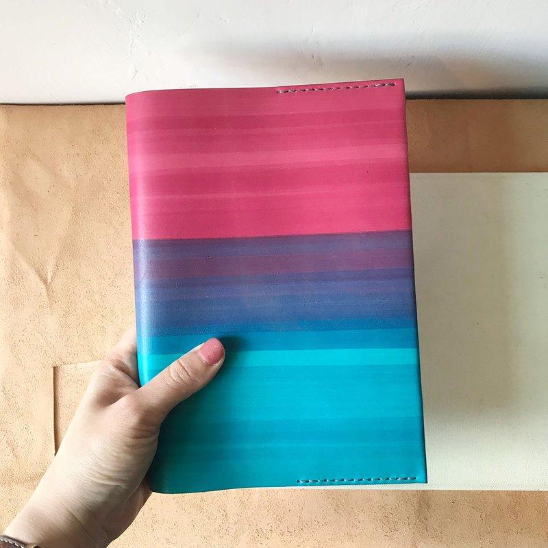 真皮書套_旅行手帳_無印良品A5尺寸_閱讀頁設計_胭脂粉漸層里昂藍