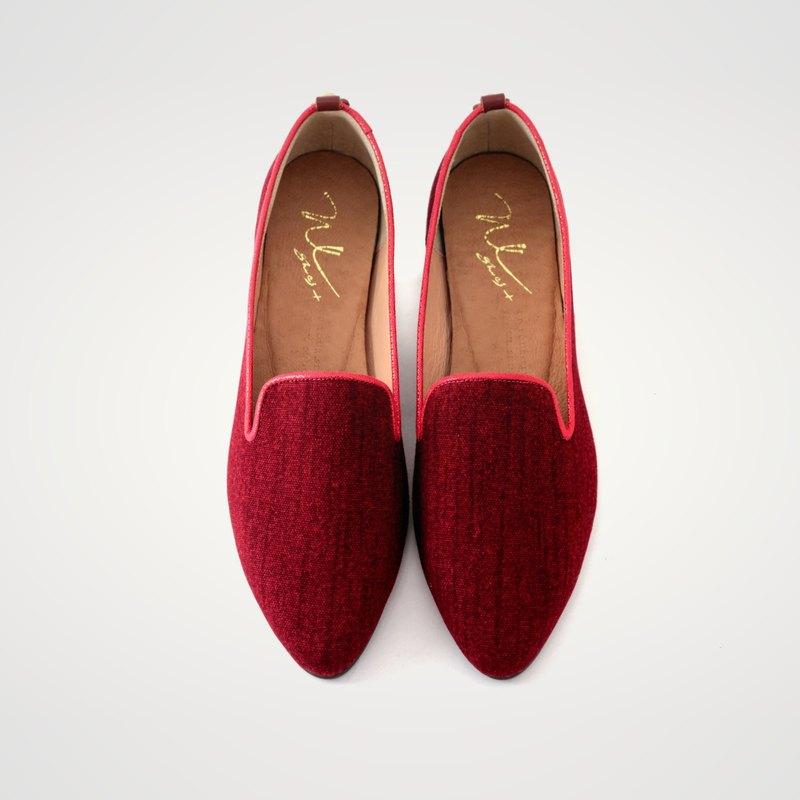 WL丹寧低跟 (魅力紅) Denim Heeled Loafers