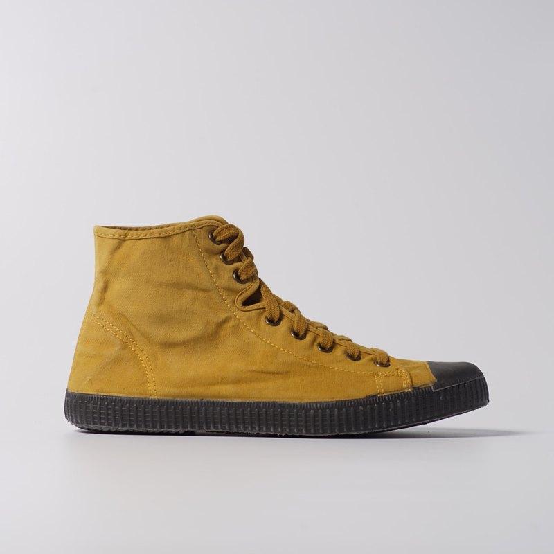 西班牙帆布鞋 CIENTA U61777 85 芥末黃 黑底 洗舊布料 大人 高筒