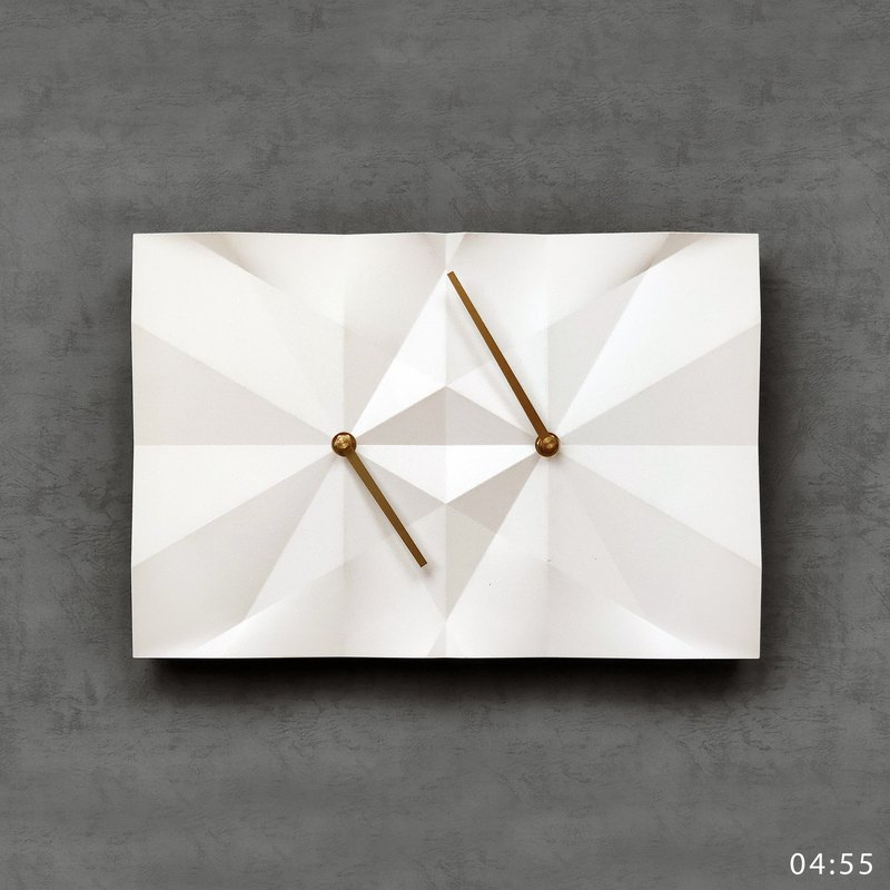 HOMER | 水泥摺紙時鐘 Origami Clock 白色/鑽石切面/啞光