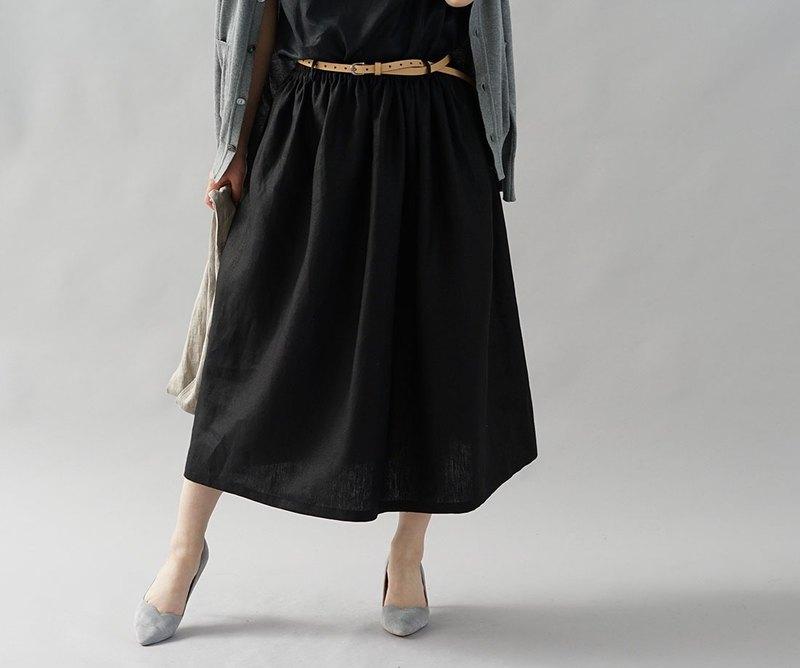 【Wafu】中號亞麻裙子wes橡膠腰帶袢帶搭配寬鬆眼睛/黑色s004b-bck2