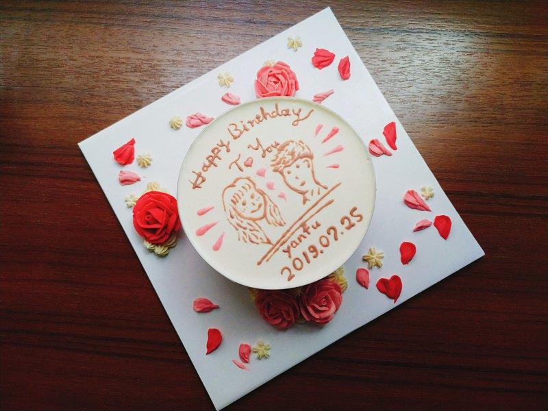 【報價】似顏繪_客製化乳酪蛋糕 (5.5吋加高 ) 生日蛋糕 情人節 紀念日