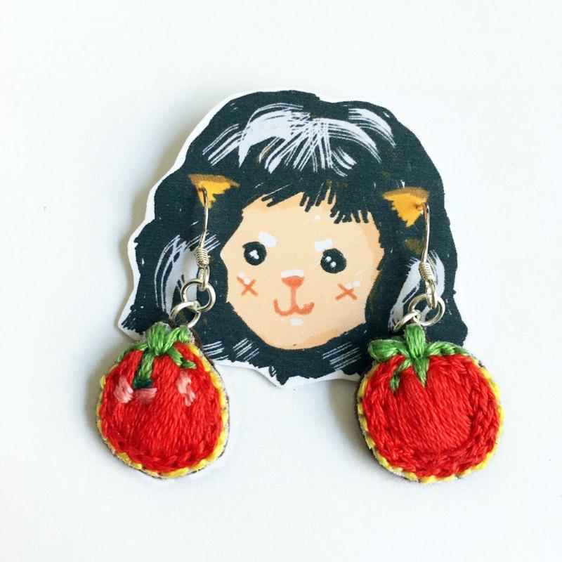 番茄刺繡耳環